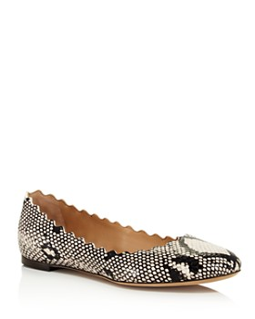 Chloé - Women's Lauren Snakeskin-Embossed Leather Ballerina Flats