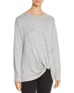 Twist-Hem Top in Gray/Black Heathered