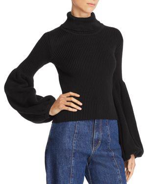 KSENIA SCHNAIDER Poet-Sleeve Turtleneck Sweater in Black