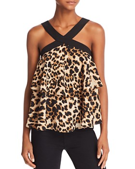 AQUA - Tiered Leopard Print Top - 100% Exclusive