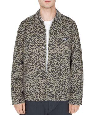 Obey Hard Work Leopard-Print Utility Jacket