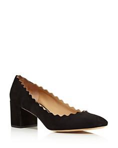 Chloé - Women's Lauren Scalloped Block-Heel Pumps
