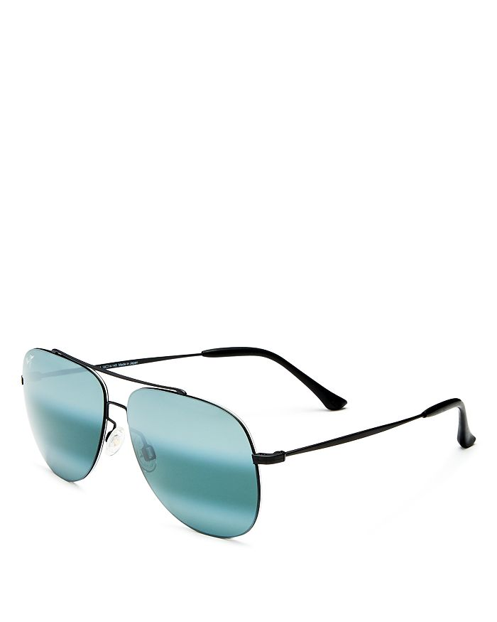 6a66abca61 Maui Jim - Men's Cinder Cone Polarized Mirrored Brow Bar Aviator  Sunglasses, ...