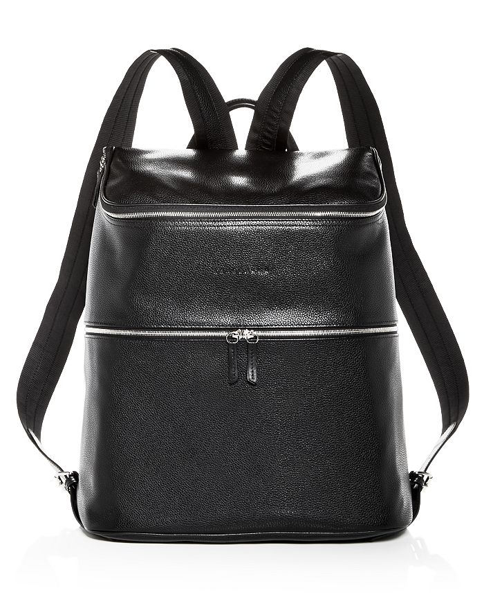 Le Foulonne Extra Large Leather Backpack In Black