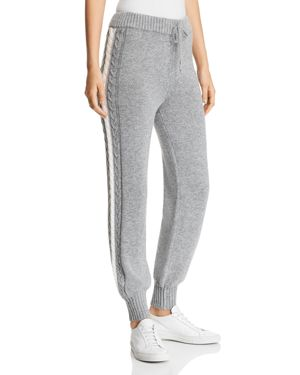 MARLED X Olivia Culpo Sweater-Knit Jogger Pants in Gray/Ivory