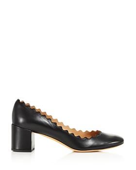 Chloé - Women's Lauren Scalloped Leather Block-Heel Pumps