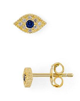 AQUA - Evil Eye Pavé Stud Earrings in 18K Gold-Plated Sterling Silver - 100% Exclusive