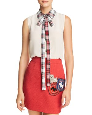 Boutique Moschino Plaid Collar & Tie-Neck Top