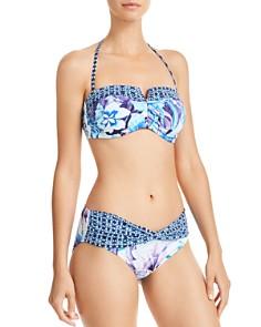 Tommy Bahama - Aqua Petals Shirred Bandeau Bikini Top & Aqua Petals High Waist Bikini Bottom