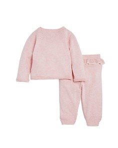 Miniclasix - Girls' Embroidered Sweater Top & Knit Ruffled Pants Set - Baby