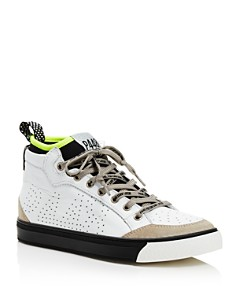 P448 - Women's MiamiL Socks Leather & Suede Lace-Up Sneakers