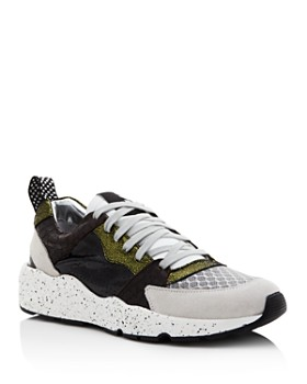 P448 - Women's Alex Mixed Leather Lace-Up Sneakers