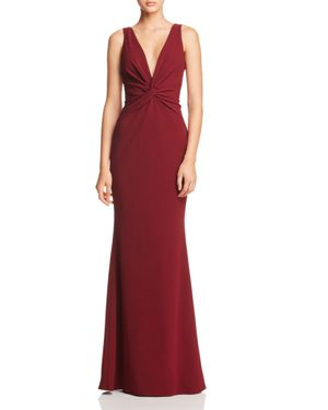 KATIE MAY Tay Twist-Detail Gown - 100% Exclusive in Bordeaux