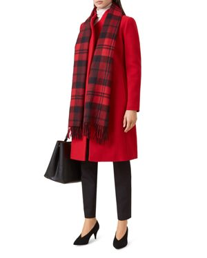 Romy Asymmetric Coat, Deep Red