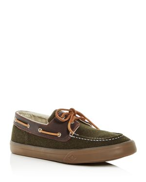 SPERRY Men'S Bahama Ii Wool & Leather Boat Shoes in Olive