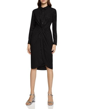 BCBGENERATION Metallic Knotted Faux-Wrap Shirt Dress in Black