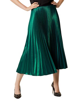 KAREN MILLEN - Metallic Pleated Midi Skirt