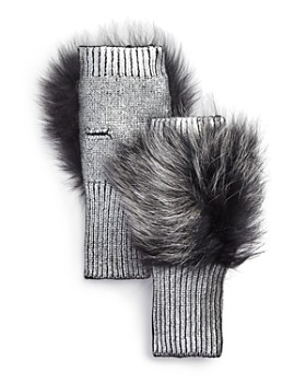 Jocelyn - Fox Fur-Trim Metallic Fingerless Gloves