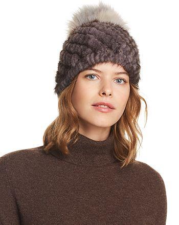 0aba599555e91 Jocelyn Fox Fur Pom-Pom   Knit Mink Fur Beanie - 100% Exclusive ...