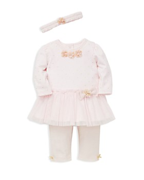 Little Me - Girls' Metallic-Dotted Tutu Dress, Striped Leggings & Headband Set - Baby