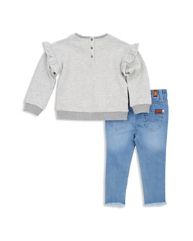 7 For All Mankind - Girls' Ruffled Sweatshirt & Frayed Skinny Jeans Set - Baby