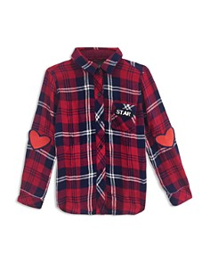 Rails - Girls' Hudson Plaid Shirt with Patches, Little Kid, Big Kid - 100% Exclusive