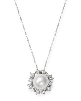 """Bloomingdale's - Diamond & Cultured Freshwater Pearl Pendant Necklace in 14K White Gold, 18"""" - 100% Exclusive"""