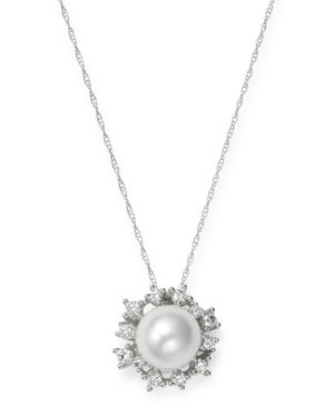 Bloomingdale's Diamond & Cultured Freshwater Pearl Pendant Necklace in 14K White Gold, 18 - 100% Exc