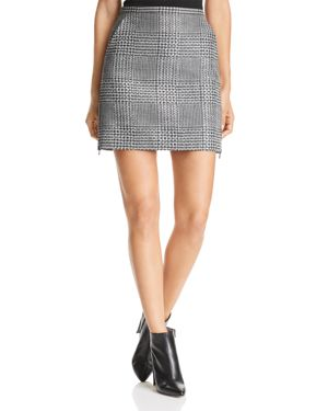 Emporio Armani Rhinestone Studded Glen Plaid Mini Skirt