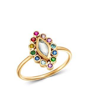 SHEBEE Shebee 14K Yellow Gold Sapphire, Blue Topaz, Amethyst & Tsavorite Ring in Multi/Gold