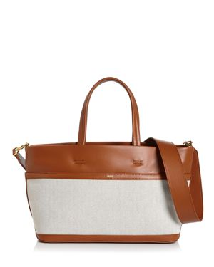VASIC Carries Mini Leather & Canvas Tote in Camel/Gold