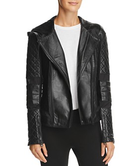Blanc Noir - Voyage Leather & Mesh Hooded Moto Jacket