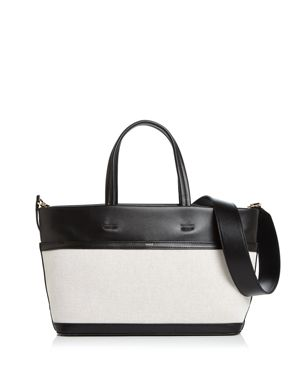 VASIC Carries Mini Leather & Canvas Tote in Black/Gold