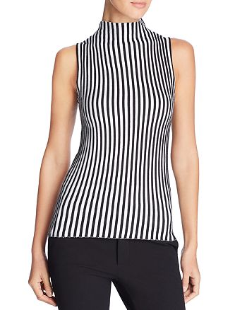Kenneth Cole - Sleeveless Ribbed Stripe Sweater