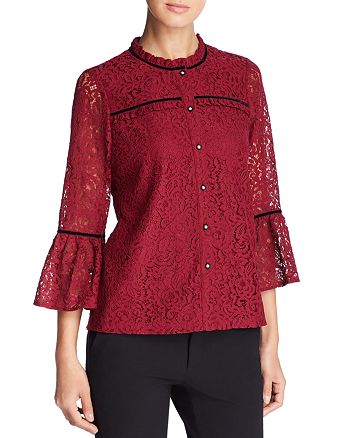KARL LAGERFELD Paris - Lace Bell-Sleeve Top