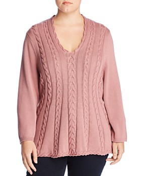 Cupio Plus - Cable V-Neck Sweater