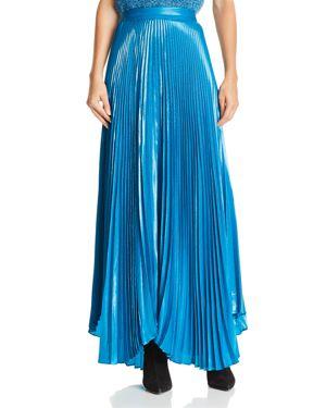 Alice + Olivia Katz Metallic Pleated Maxi Skirt, Peacock