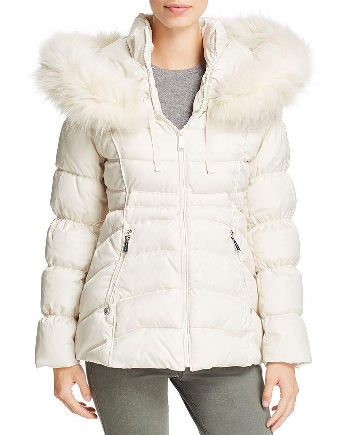 Laundry by Shelli Segal - Faux Fur Trim Short Puffer Coat