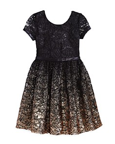 US Angels - Girls' Ombré Glitter Lace Dress - Little Kid