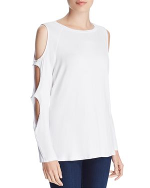 ALISON ANDREWS Cutout Sleeve Top in Bright White