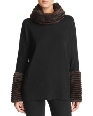 CAPOTE Fleece Faux-Fur Turtleneck Sweater in Black/Brown