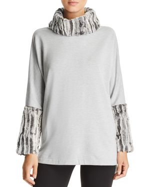 CAPOTE Fleece Faux-Fur Turtleneck Sweater in Gray