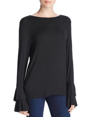 Tiered Ruffle Sleeve Top in Black