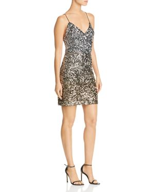 BARDOT Sequined Mini Dress in Silver Gold Sequin