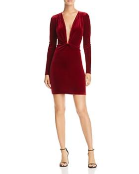 AQUA - Twist-Front Body-Con Velvet Dress - 100% Exclusive