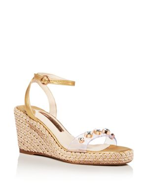 Women'S Dina Open Toe Jeweled Wedge Espadrille Sandals in Gold Silver