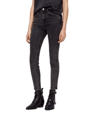 Allsaints Nyla High-Rise Ankle Skinny Jeans in Washed Black 2838048