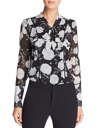 KARL LAGERFELD Paris - Floral Tie-Neck Top