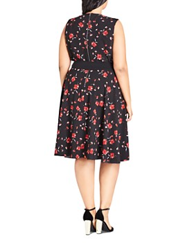 City Chic Plus - In Love Floral-Print Sleeveless Dress