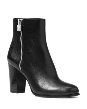 Women'S Margaret Leather High Heel Booties in Black